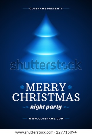 Christmas night party poster or flyer vector illustration. Merry christmas design template vector background and christmas tree. - stock vector
