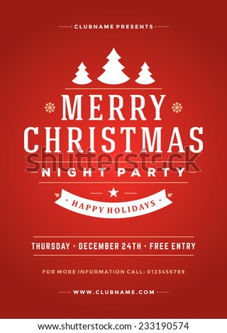 Christmas night party poster or flyer vector illustration. Merry christmas design template vector background. - stock vector