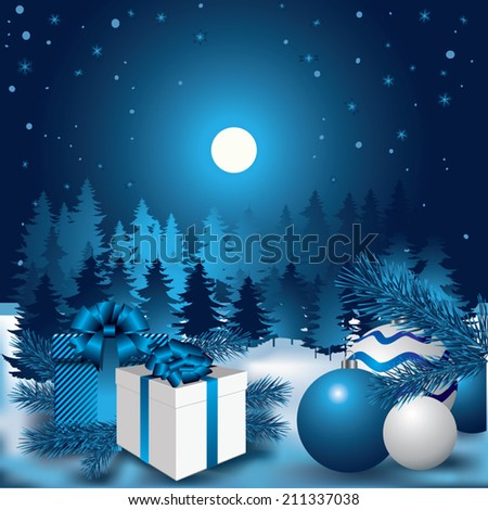 Christmas night. Trees, snowflakes, twigs of evergreen and gifts. Vector illustration - stock vector