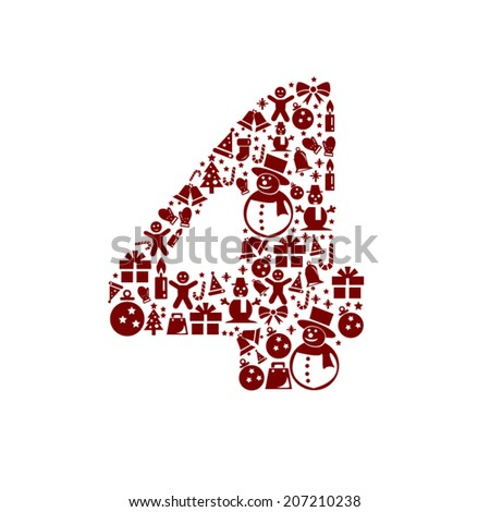 Christmas Number 4 on White Background - stock vector