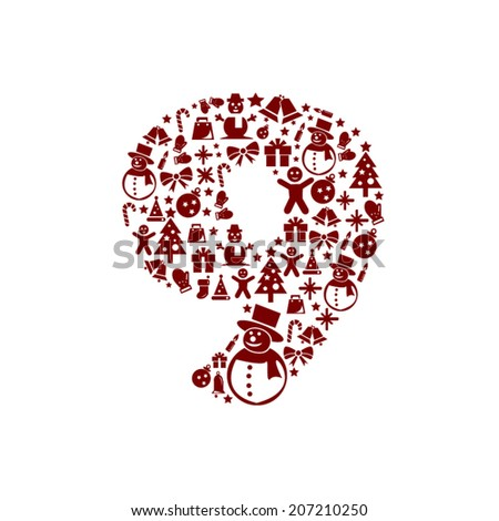 Christmas Number 9 on White Background - stock vector