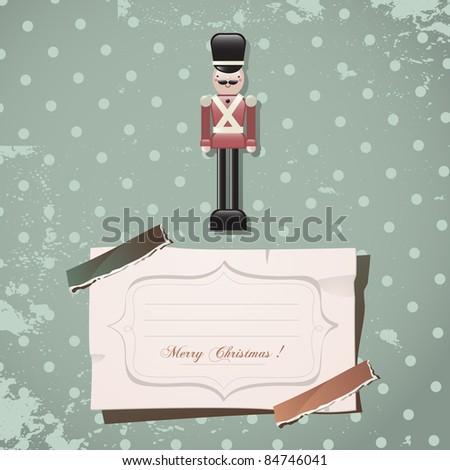 christmas nutcracker soldier vintage toy - stock vector