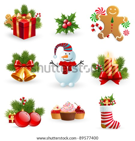 Christmas object element - fir tree snowman gingerbread gift candle sock bell ball holy berry.? - stock vector