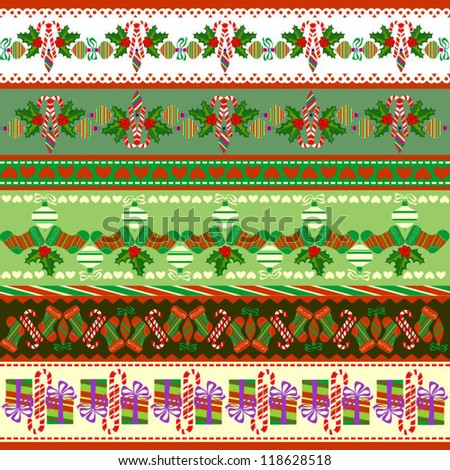 Christmas Objects in Patterns, Scrapbook Ribbons, Vector Version - stock vector