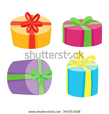 Big presents collection vector illustration cartoon stock vector christmas or birthday presents collection vector illustration of cartoon gifts in bag isolated on white negle Gallery