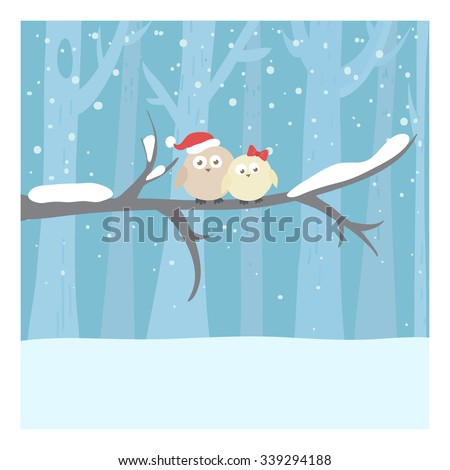 Christmas or New Year illustration. Cute owls on the branch. Can be used for celebration card, invitation, scrapbooking.