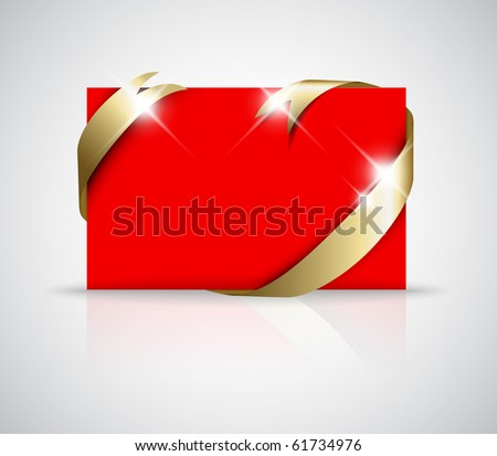 Christmas or wedding card - Golden ribbon around blank red paper,  where you should write your text