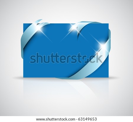 Christmas or wedding card - silver ribbon around blank blue paper, where you should write your text - stock vector