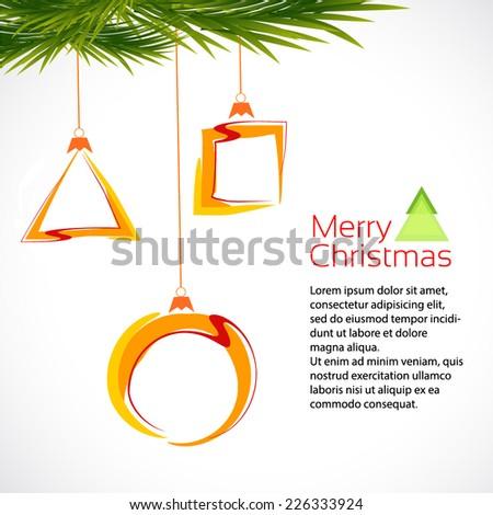 Christmas orange balls. Triangle, circle, square. Merry christmas - stock vector