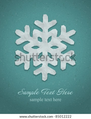 Christmas origami snowflake vector background. Eps 10. - stock vector