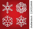 Christmas origami snowflakes on red background. Vector set - stock vector