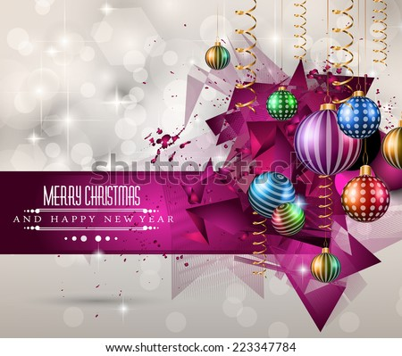 Christmas original modern background template for invitations, seasonal cards, event posters, new year backgronds and so on. - stock vector
