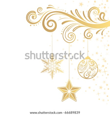 christmas ornament and star - stock vector