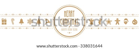 christmas ornament banner gold isolated background - stock vector