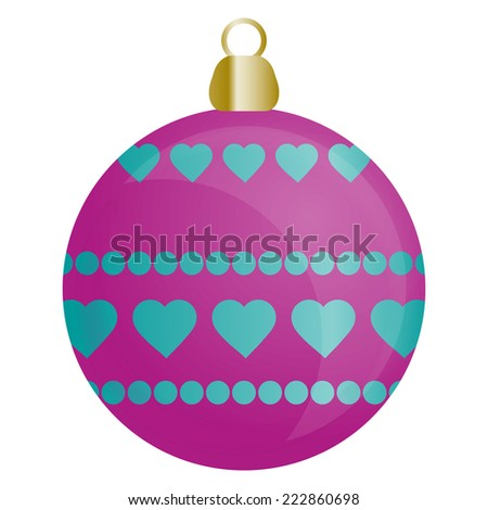 Christmas ornament for Christmas tree in blue and pink color - stock vector