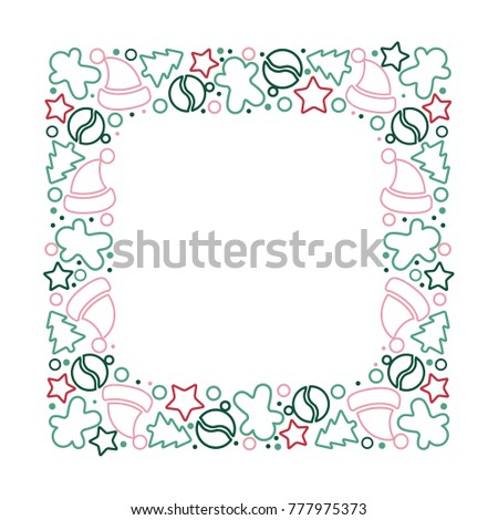 Christmas ornament frame in modern style. Template for text placement.