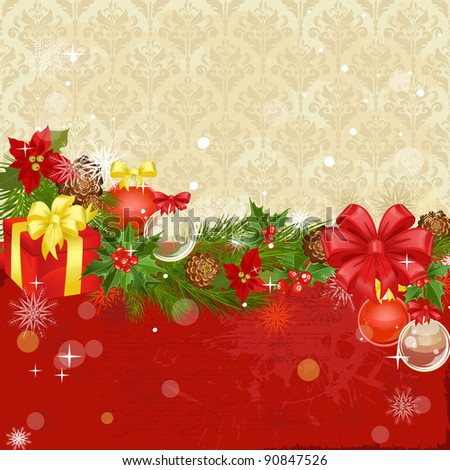 Christmas ornament frame with gifts - stock vector