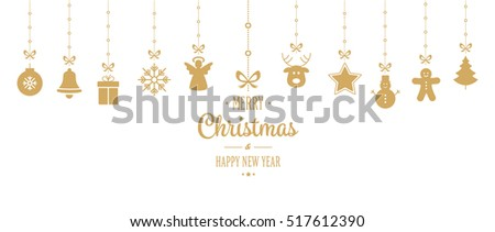 christmas ornament hanging gold isolated background