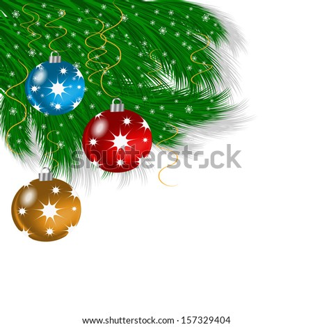 Christmas ornament out of a green branch and glass balls on a white background - stock vector