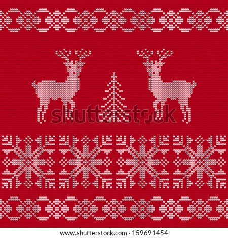 Christmas ornament. Sweater with deers.  - stock vector