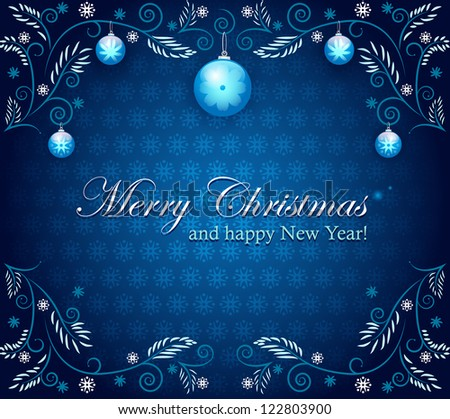 Christmas ornament with christmas balls on blue. Vector background. Set of banners. Easy to edit. Perfect for invitations and announcements. - stock vector