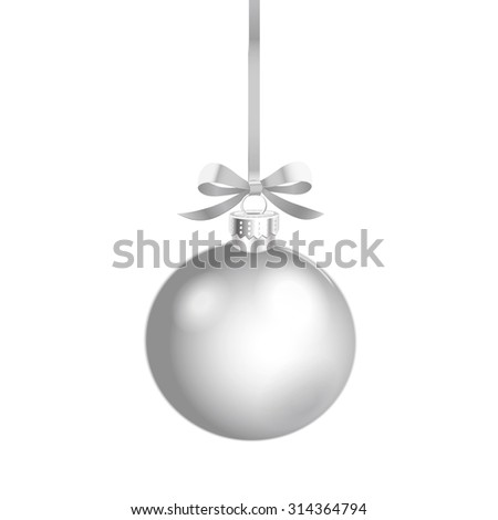 Christmas ornament with silver ribbon. Vector Illustration. - stock vector