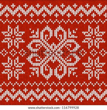 Christmas ornamental embroidery - stock vector