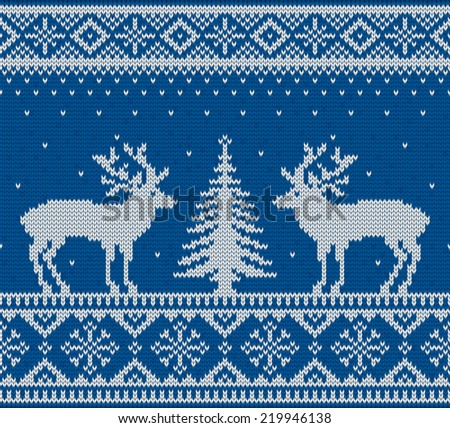 Christmas ornamental embroidery (knitting) with deers and fir-tree vector background - stock vector