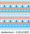 Christmas ornamental traditional knitted seamless background - stock vector