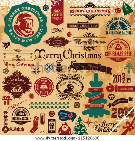 Christmas Ornaments and Decoration Collection. Santa Claus. Christmas Tree. Vintage Retro Christmas Labels and Badges. - stock vector
