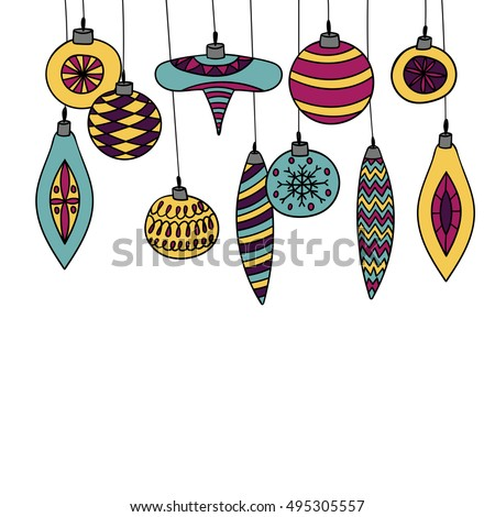 Christmas Ornaments,Christmas Balls Decorations,Christmas Hanging Decoration set, vector illustration