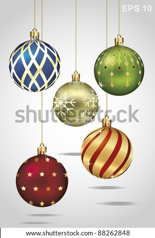Christmas ornaments hanging on gold thread. Vector illustration - stock vector