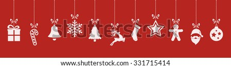christmas ornaments hanging red background - stock vector