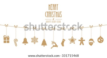 christmas ornaments hanging rope gold isolated background - stock vector