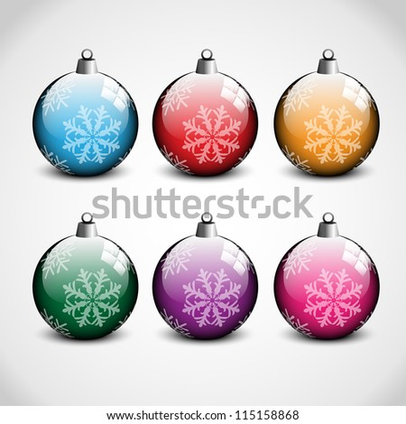 Christmas ornaments in blue, red, orange, green, purple and pink color with snow flakes on them. Has gray and white background. - stock vector