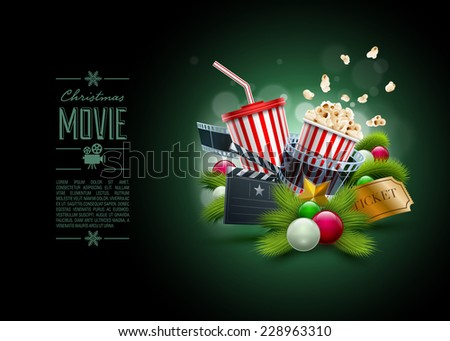 Christmas ornaments, Popcorn box; Disposable scup for beverages with straw, film strip and ticket. Detailed vector illustration. Poster design template. EPS10 file. - stock vector