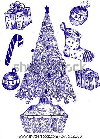 Pencil Christmas Tree Stock Images Royalty-Free Images U0026 Vectors | Shutterstock