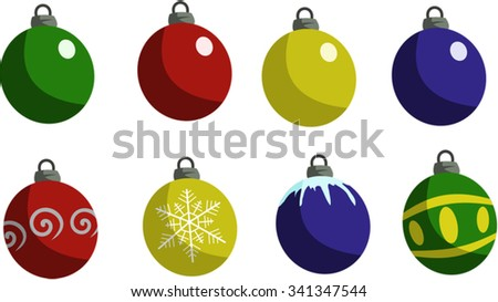 Christmas ornaments, various colors and designs - stock vector