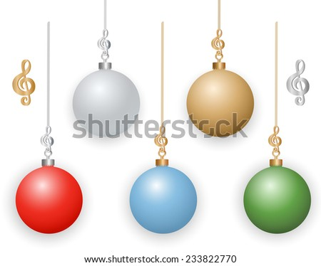 Christmas Ornaments with Musical Treble Clef Hooks. - stock vector