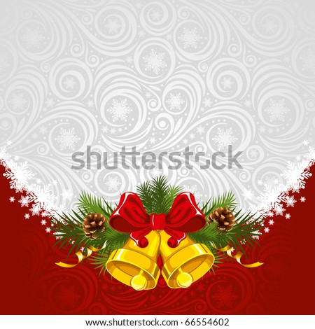 Christmas ornate background with gold bells