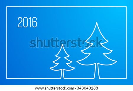 Christmas Outline Background. New Year and Xmas Design Element Template. Christmas Trees Line Design. Vector Illustration. - stock vector