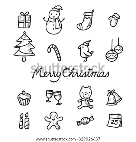 Christmas Outline Icons Set, Monochrome, Merry, Xmas, Happy New Year, Objects, Animals, Festive, Celebrations