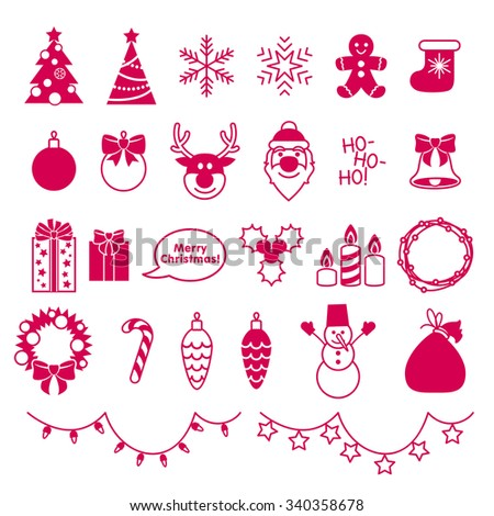 Christmas outline style icons set. Holiday symbols - santa christmas new year tree ball snowflake garlands gifts wreath candy cane snow man etc. - stock vector