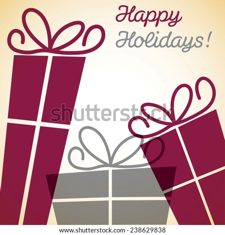 Christmas overlay present card in vector format. - stock vector
