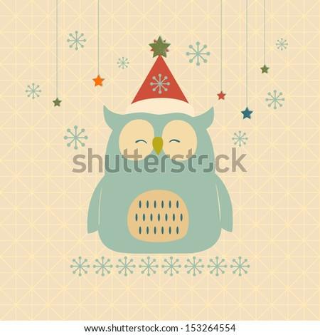Christmas owl. - stock vector