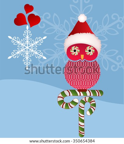 Christmas owl - candy cane eyes and snowflakes - stock vector