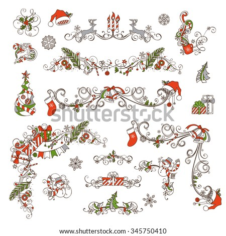 Christmas page dividers and decorations isolated on white background. Christmas tree and baubles, gifts, snowman, deer, bells and ribbons, Santa sock and hat, cup, stars, holly berries and candles.  - stock vector
