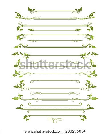 Christmas page dividers. Set of ornamental page dividers with holly elements. - stock vector