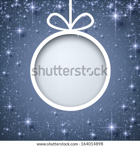 Christmas paper ball over blue winter abstract background. Vector illustration with snowflakes and sparkles.  - stock vector