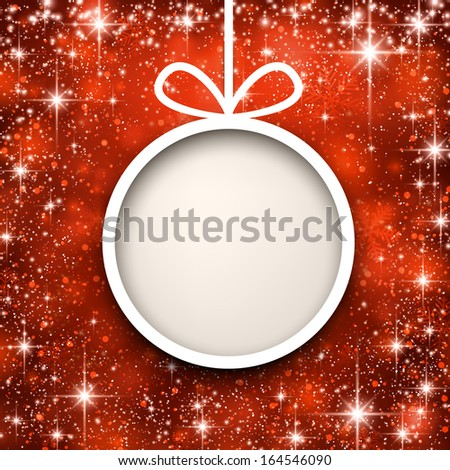 Christmas paper ball over red winter abstract background. Vector illustration with snowflakes and sparkles.   - stock vector